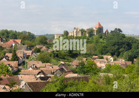 Village and castle of Slimnic, near Sibiu, Transylvania, Romania - Stock Photo