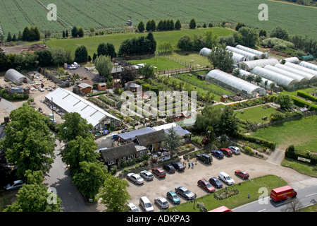 Oblique high level aerial view south west of Abridge area with Patch Park Nurseries London RM4 England 2005 - Stock Photo