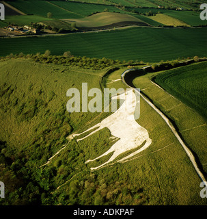 Westbury White Horse and hill fort Wiltshire UK chalk hill carving dating from 1778 aerial view - Stock Photo