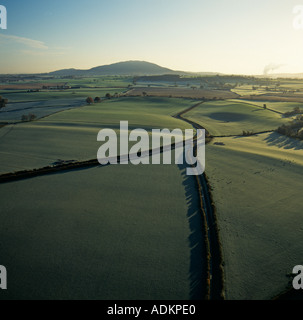 Rural Shropshire aerial view towards the Wrekin hills UK - Stock Photo