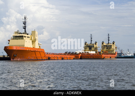 Offshore service vessels in Port Fourchon Edison Chouest at Fourchon LA USA operating in Gulf of Mexico Deepwater - Stock Photo