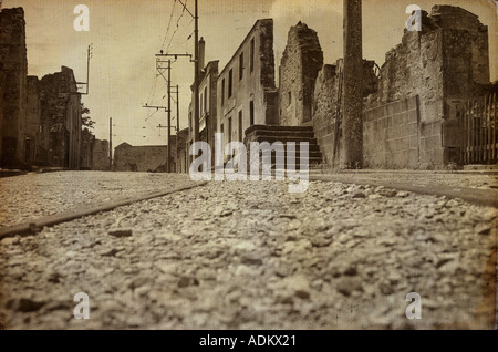Ruined Streets with vintage treatment - Stock Photo
