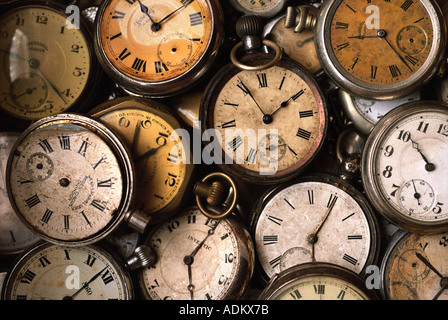 A COLLECTION OF OLD GENTLEMANS POCKET WATCHES - Stock Photo