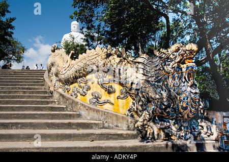 Dragon stairway leading up to the large white statue of the seated [Sakyamuni Buddha], 'Long Son Pagoda', 'NhaTrang', - Stock Photo