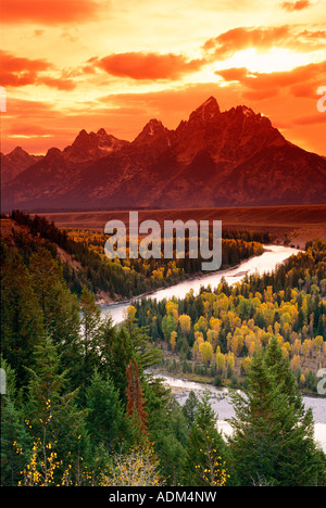 Clearing storm over the Grand Tetons at sunset from the Snake River overlook Grand Teton National Park Wyoming - Stock Photo