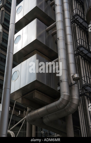 Detail of the exterior of the Lloyds Building in the City of London UK Building designed by Sir Richard Rogers - Stock Photo