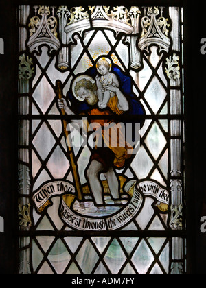 Salisbury Wiltshire England Church of St Thomas Becket  Saint  Christopher Carrying the Christ Child Across the - Stock Photo