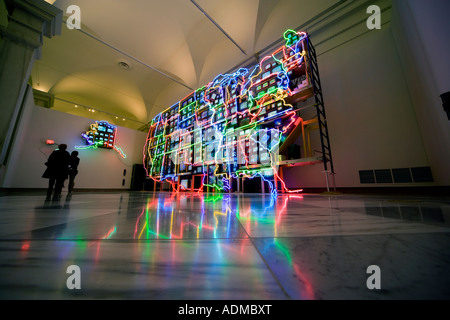 Neon map of the USA in sculpture video art installation Electronic Superhighway by Nam June Paik in the American - Stock Photo