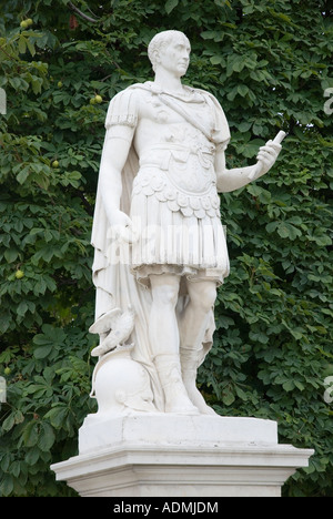 Marble statue of Julius Caesar by Nicolas Coustou, Jardin Tuileries, Paris, France - Stock Photo