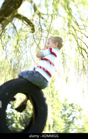Young boy on tire swing - Stock Photo