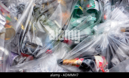 Recyclables in clear plastic bag - Stock Photo