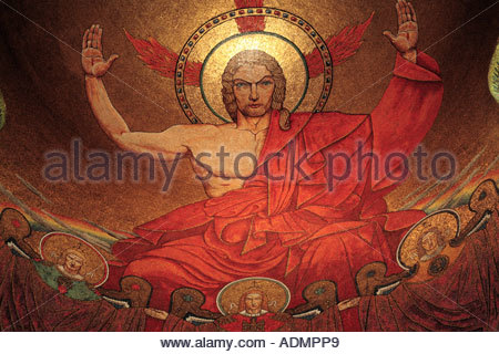 Mosaic of Christ in Majesty in the north apse of the National Shrine of the Immaculate Conception in Washington - Stock Photo