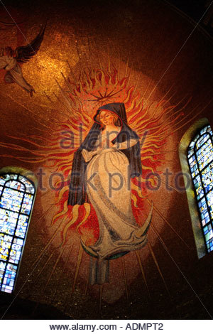 Mosaic of Mary in the National Shrine of the Immaculate Conception in Washington DC - Stock Photo