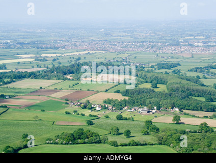 Wiltshire countryside air photo looking towards Melksham from Sandridge. - Stock Photo