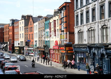 Dame Street with the Olympia Theatre in Dublin in Ireland - Stock Photo