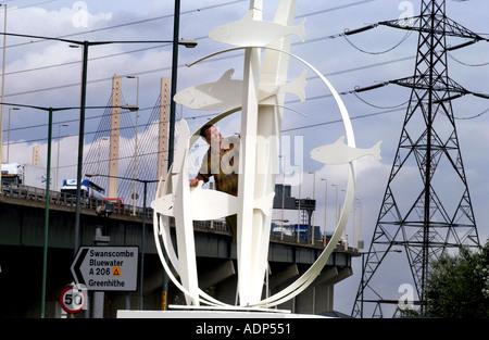 Roundabout Art At QEII bridge Dartford - Stock Photo