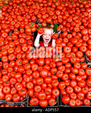A three year old boy in a mass of English Beef Tomatoes on a fruit and vegetable stall at Brighton Open Market - Stock Photo