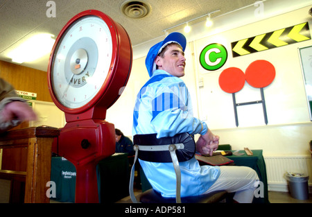 Weighing in. A jockey in his silks on the scales before his race - Stock Photo