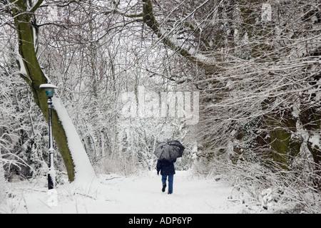 Walker strolls with umbrella across snow covered Hampstead Heath London United Kingdom - Stock Photo