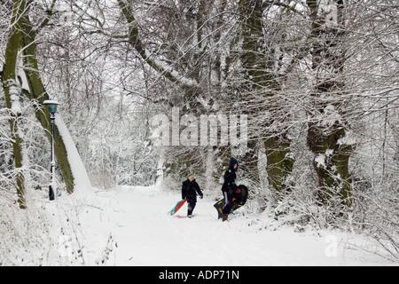 Boys carry sledges across snow covered Hampstead Heath North London United Kingdom - Stock Photo