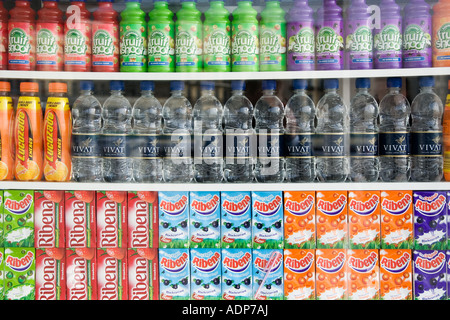 Soft drinks for sale on Brighton beach resort South Coast of England United Kingdom - Stock Photo