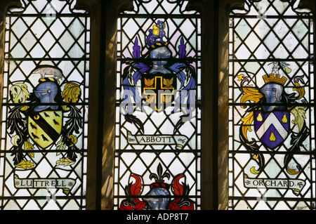 Stained glass window of  knights in stoke church, Hartland point, devon, UK - Stock Photo