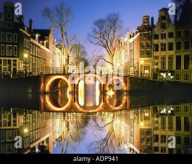 NL - AMSTERDAM: Herrengracht by night - Stock Photo