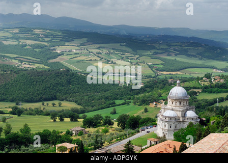 View of Mount Martani and St Mary Consolation catholic church from San Fortunato in Todi valley Umbria Italy - Stock Photo