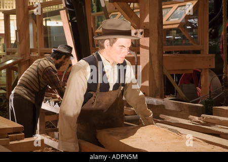 The Kauri Museum display of early pioneer sawmill inside Kauri timber and gum museum Matakohe North Island New Zealand - Stock Photo