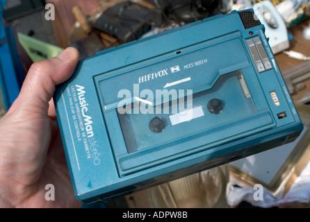 Paris France, Shopping 1980's Consumer Electronic Portable 'Audio Cassette Player' 'Flea Market' 'Walkman' Vintage - Stock Photo