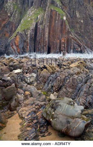 Bude Bay near Sandy Mouth North Cornwall England UK - Stock Photo