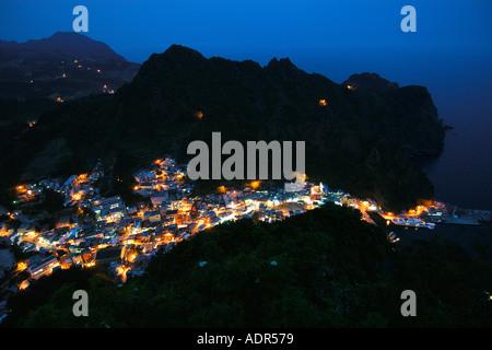 Village of Dodong Ri at night Ulleung Do island South Korea East Sea - Stock Photo