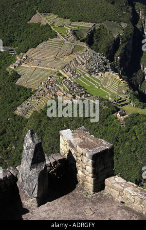[Machu Picchu], scenic view of ancient Inca ruins from lookout point on summit of [Huayna Picchu], Peru, 'South - Stock Photo