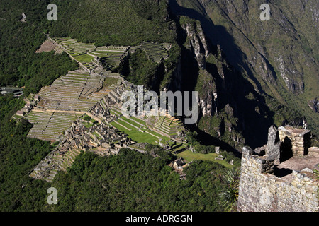 [Machu Picchu], panoramic view of ancient Inca ruins from viewpoint on summit of [Huayna Picchu], Peru, 'South America' - Stock Photo