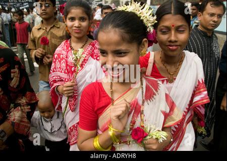 Bangladeshi girls in traditional dress at the National Language day festival in Dhaka Bangladesh - Stock Photo