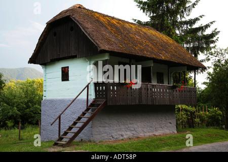 Tiny traditional town in preserved village or Kumrovec Zagorje Croatia - Stock Photo