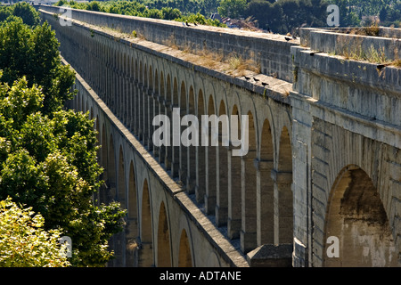 18th century Saint Clément Aqueduct in Montpellier, Herault, France - Stock Photo