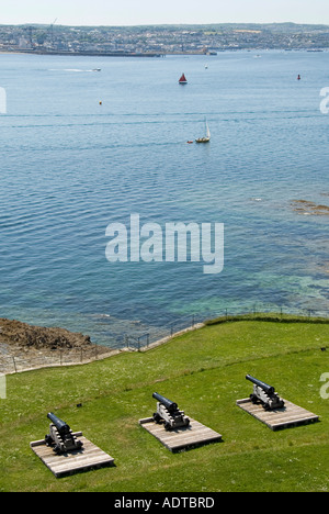 St Mawes looking across Fal Estuary and Carrick Roads from castle with cannons towards Falmouth - Stock Photo