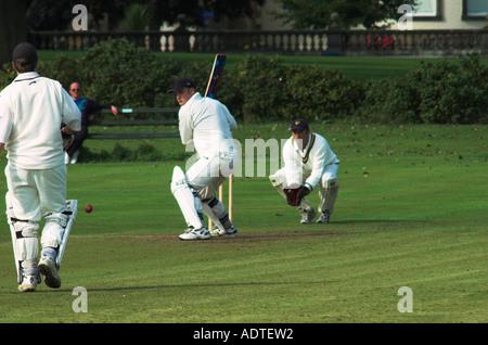 Local Criciket Match Sewerby Hall Bridlington East Yorkshire England United Kingdom U K Great Britain - Stock Photo