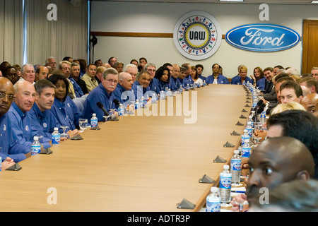 UAW and Ford Begin Contract Negotiations - Stock Photo