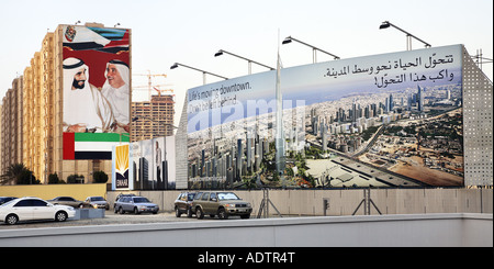 sheik poster and developer's hoarding in the street, Dubai - Stock Photo