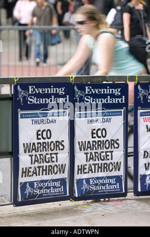 Newspaper headline in London about climate change protestors targeting Heathrow Airport - Stock Photo