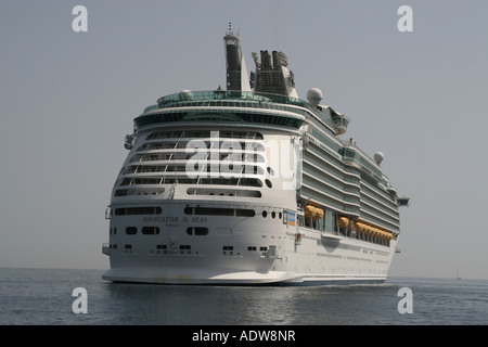 Royal Caribbean cruise ship Navigator of the Seas at anchor in Villefranche - Stock Photo
