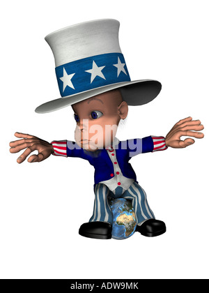 National Figure Uncle Sam With A Globe As Foot Chain Symbol For