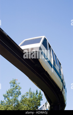 the monorail train overhead at the Minnesota Zoo in Apple Valley Minnesota - Stock Photo
