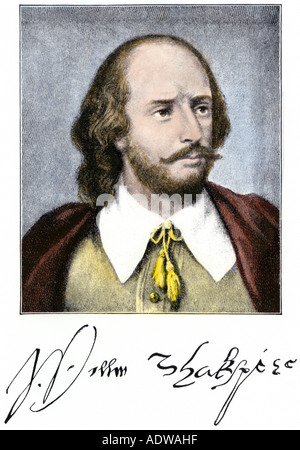 William Shakespeare with autograph. Hand-colored halftone of an illustration - Stock Photo