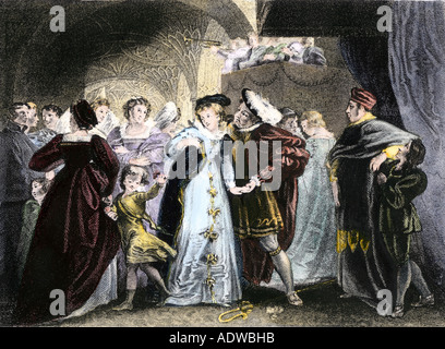 King Henry VIII meets Anne Boleyn 1527. Hand-colored engraving - Stock Photo