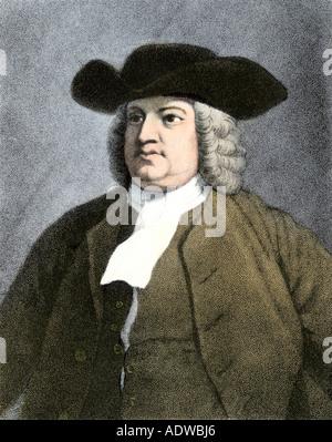 English Quaker William Penn. Hand-colored engraving - Stock Photo