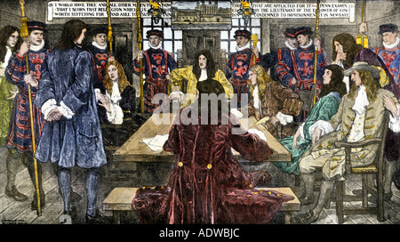 William Penn sent to prison by order of the Lieutenant of the Tower of London. Hand-colored woodcut - Stock Photo