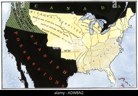 US Map Of Freedom And Slavery In 1857 Stock Photo 60024239 Alamy - Us Map 1820